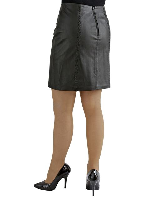 Black Mini Skirt By Tout Coup black soft leather mini skirt laced seams tout ensemble
