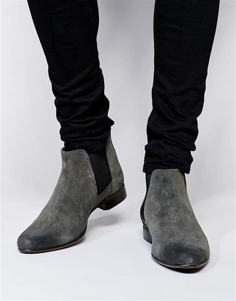 grey chelsea asos chelsea boots in suede in gray for lyst