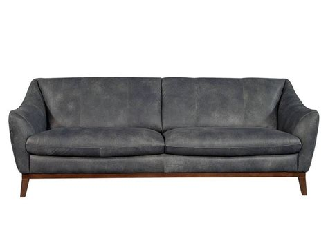 quilted distressed leather sofa in grey for sale at 1stdibs