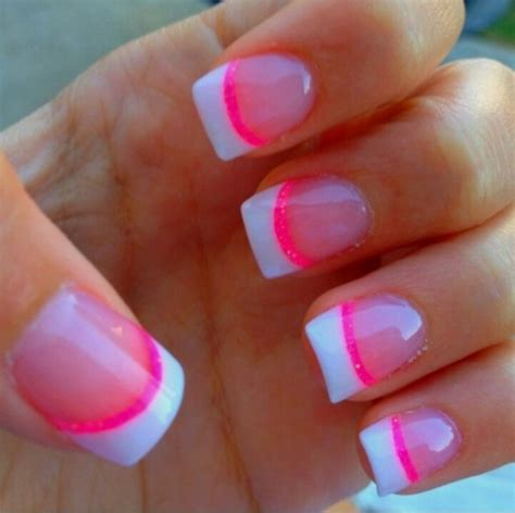 pink and white french tip nails nails pinterest
