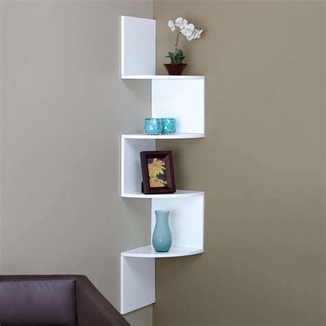 interior design on wall at home diy wood wall mounted corner wall shelf painted with white