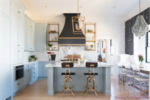 good Black And White Dining Room Ideas #6: kitchen-white-marble-calcutta-gold-open-shelves-gold-black-vent-hood-blue-gray-cabinets-shaker-style-black-chevron-tile-subway-white-backsplash-decor-ideas-1-of-32.jpg