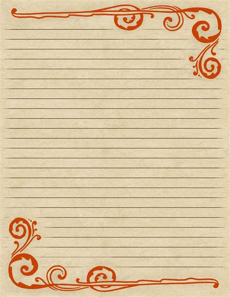 printable stationery uk lilac lavender swirling border lined paper