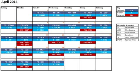 media calendar template sle social media content calendar calendar template 2016