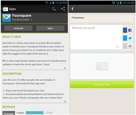 foursquare for android foursquare for android updated with new check in screen performance improvements