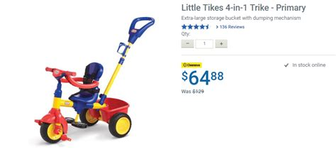 Sepeda Anak Tikes 4 In 1 Trike Primary walmart ca offers save 64 12 on tikes 4 in 1 trike primary for 64 88 canada