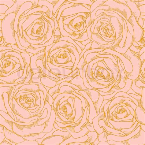 %name pencil colour painting   Beautiful seamless background of pink roses with a gold outline in vintage style. Many