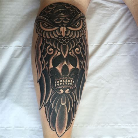 owl skeleton tattoo