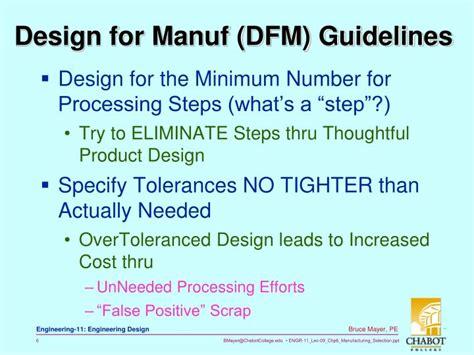 design for manufacturing dfm guidelines ppt bruce mayer pe licensed electrical mechanical