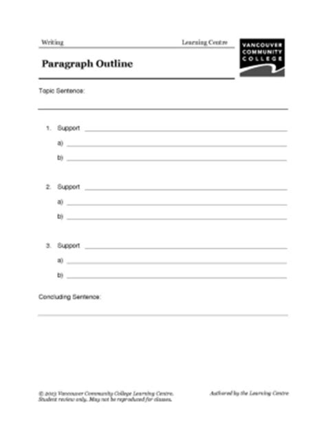 writing a paragraph template worksheets eal formerly esl libguides at vancouver