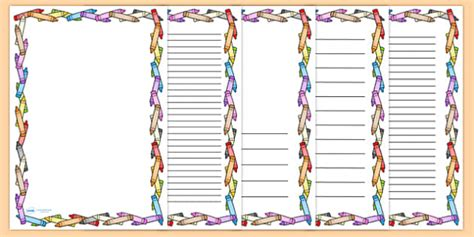 lined paper with crayon border crayon page borders colouring colouring in writing