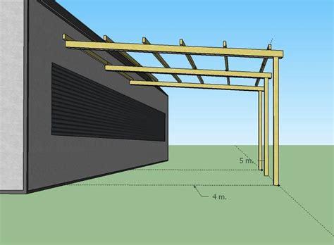 gazebo 5x4 pergola addossata in legno 5x4 pensilina tettoia portico