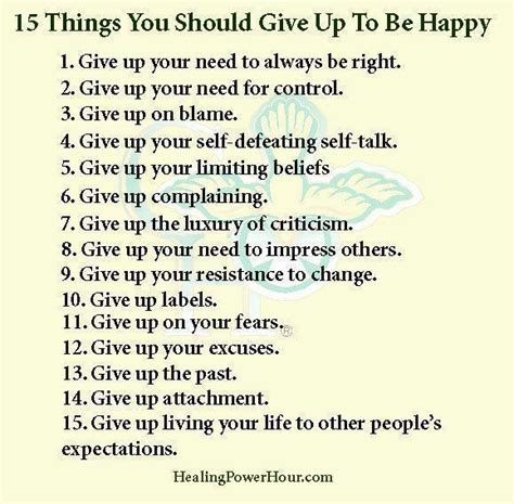 15 things to give up to be happy interesting posters