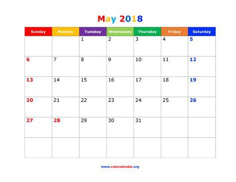 Calendar May 2018 May 2018 Calendar