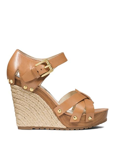 mk wedge sandals michael michael kors wedge sandals somerly in brown lyst