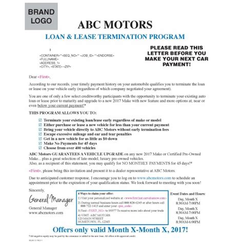 infiniti early lease termination automotive loan or lease release mailer