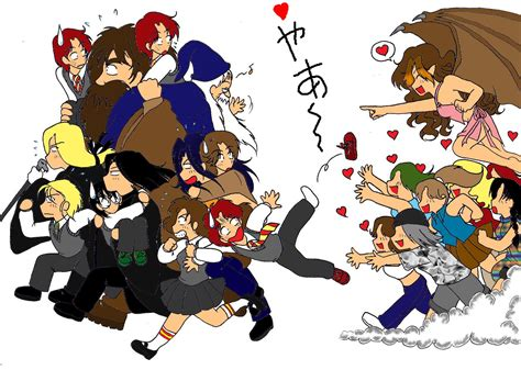 Chasing Hp Character fangirls attack by illusionevenstar on deviantart