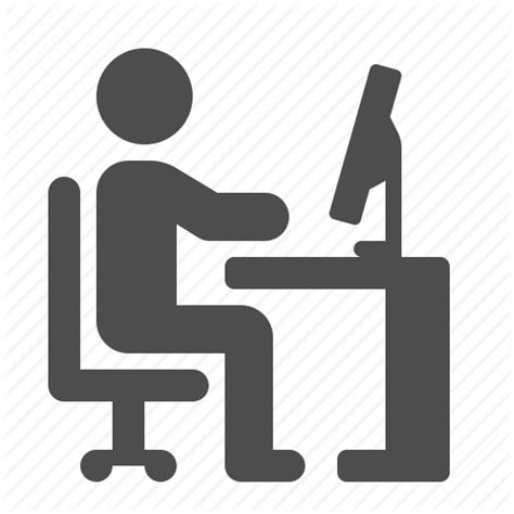 Chair Computer Desk Man Office Pc Working Icon Office Desk Icon