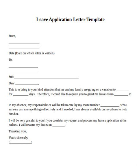 leave application letter format in pdf 41 application letter sle