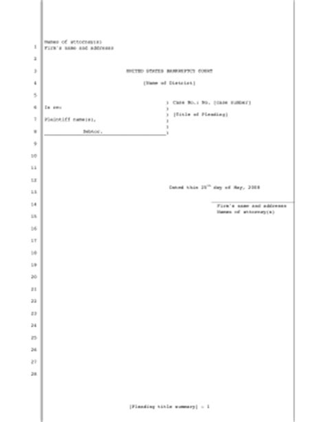 Printable Legal Pleading Template For Filing Bankruptcy In U S District Court 28 Lines Legal Court Pleading Template