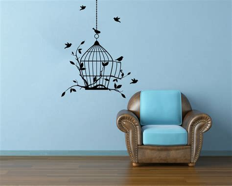 birdcage wall stickers bird in cage decals wall decals by bestdecals