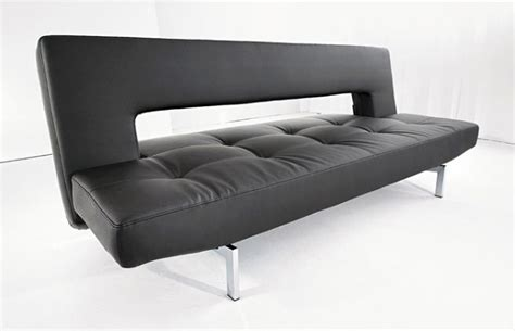 wing sofa bed wing deluxe sofa bed black leather textile by innovation