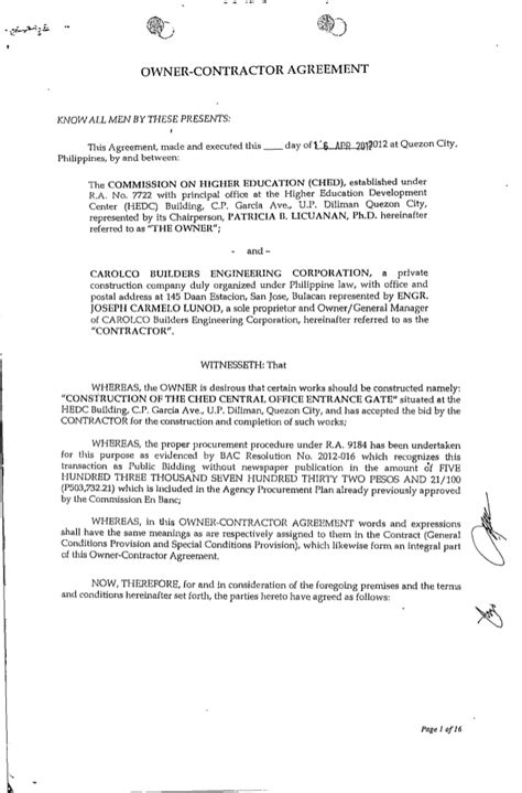 Letter Of Agreement Between Owner And Contractor contract ched entrance gate