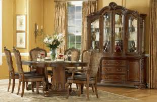 old world formal dining room furniture pedestal table upholstered chairs