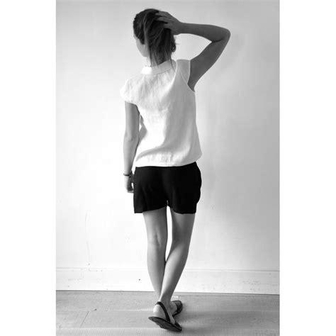 14480 White Mlxl Blouse sleeves shirt white linen le vestiaire de jeanne sarl