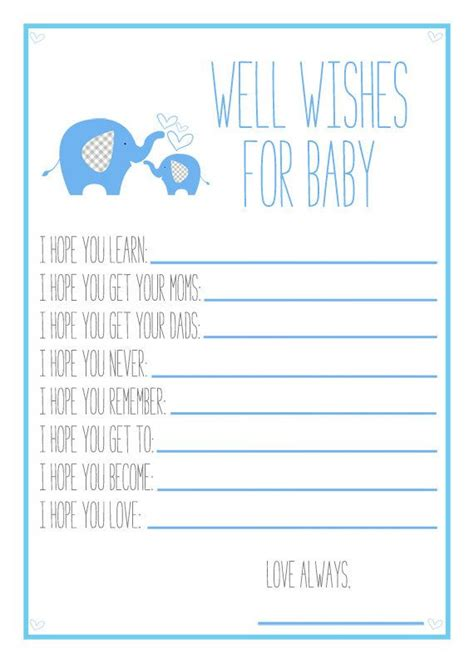 baby shower wish list template blue elephant baby shower printable well wishes for baby