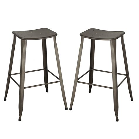 tolix metal bar stools joveco 30 inches sheet metal frame tolix style backless bar stool set of 2 joveco com