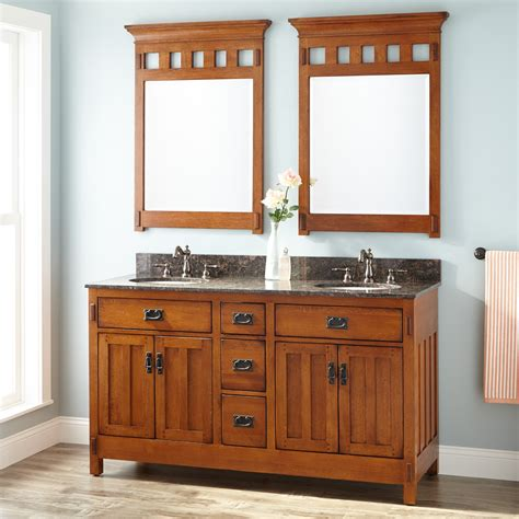 60quot american craftsman double vanity for undermount sinks