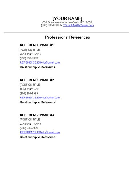 free professional reference page template templates at