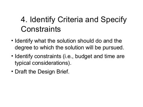 design brief with specifications and constraints design process