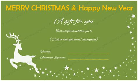 new year free gift and new year gift certificate reindeer design