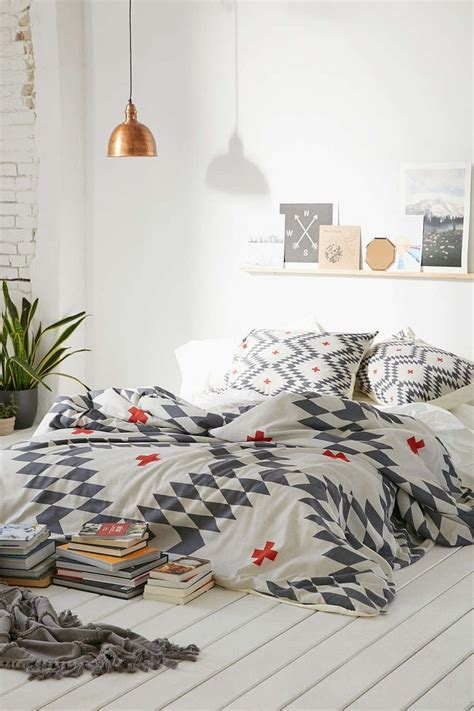 aztec bedroom ideas white grey and copper bedroom