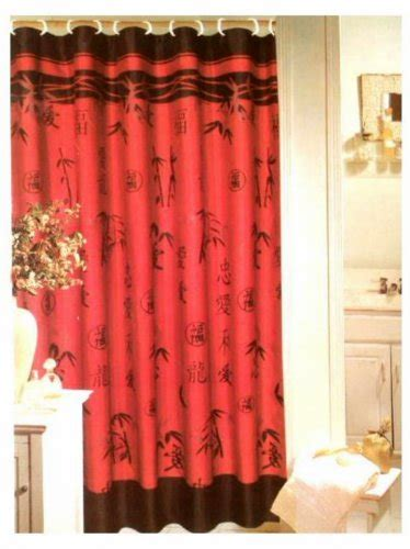chinese shower curtain oriental red black asian bamboo shower curtain