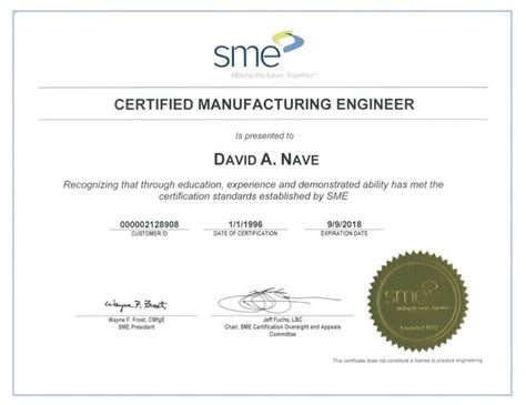 design for manufacturing certification experience certificate sle for production engineer