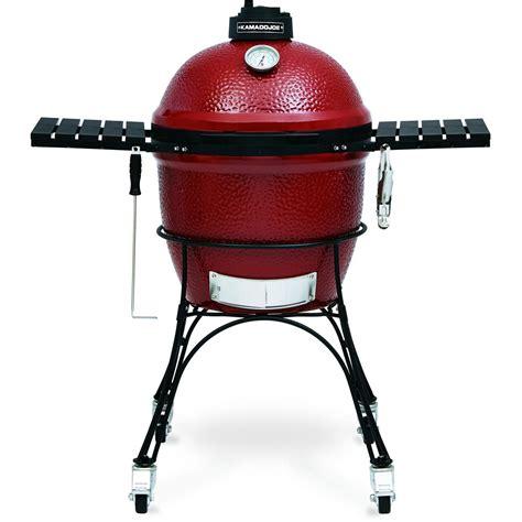kamado joe classic ceramic grill on cart red