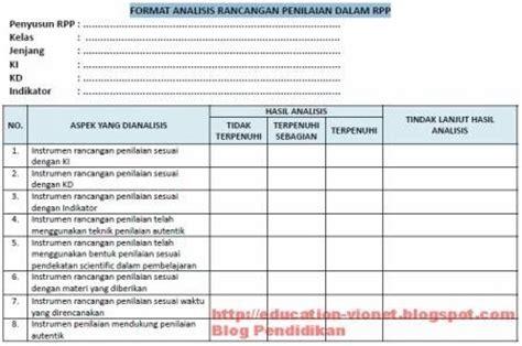 Format Penilaian Kurikulum 2013 | format analisis rencana penilaian dalam rpp kurikulum 2013