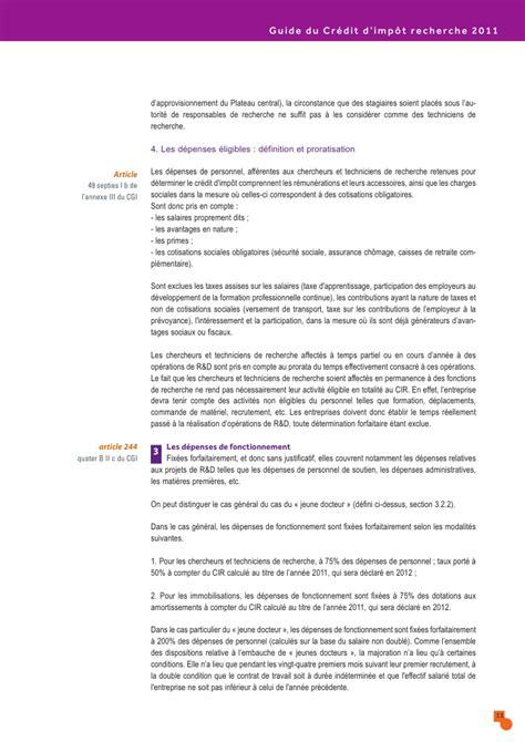 Credit Impot Formation Dirigeant 2011 Notice Guide Du Credit Impot Recherche 2011 04 10 147387
