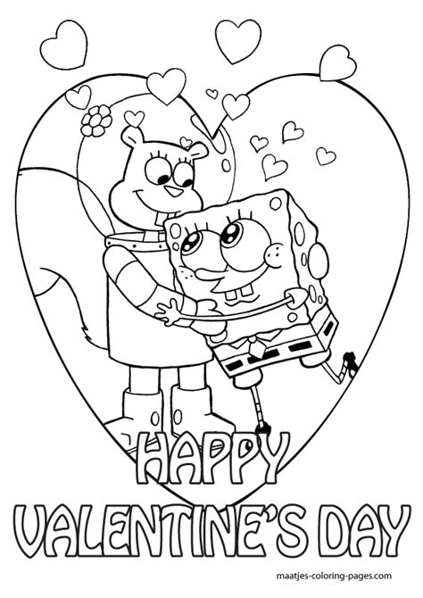spongebob valentines day coloring pages for kids