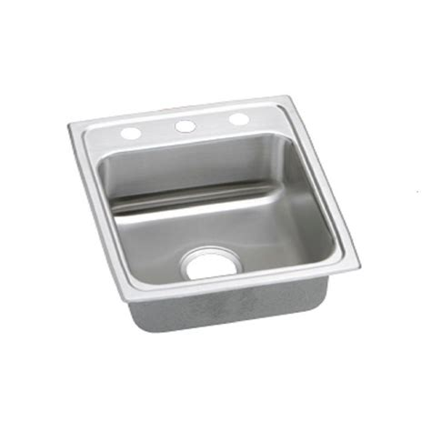 Stainless Steel Single Bowl Drop In Kitchen Sinks Elkay Lustertone Drop In Stainless Steel 15 In 3 Single Bowl Kitchen Sink Lr15223 The