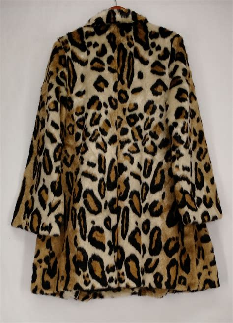 faux leopard swing coat donna salyers trench xl faux leopard fur swing coat brown