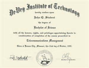 devry institute of technology embossed diploma frame in