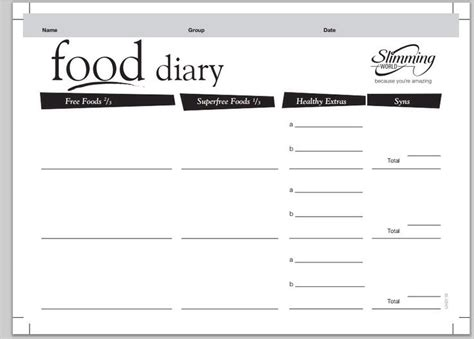 printable food diary for slimming world 44 best slimming world images on pinterest slimming