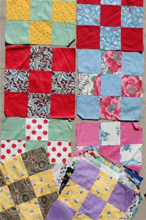 Patchwork Quilt Blocks - lot of nine patch patchwork quilt blocks vintage cotton