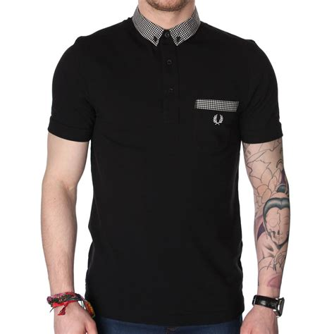 T Shirt Polo Fred Ferry fred perry m9280 gingham trim polo t shirt fred perry from the menswear site uk