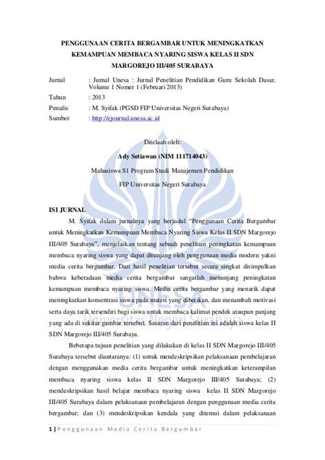 format jurnal jurnal pendidikan penggunaan media cerita bergambar
