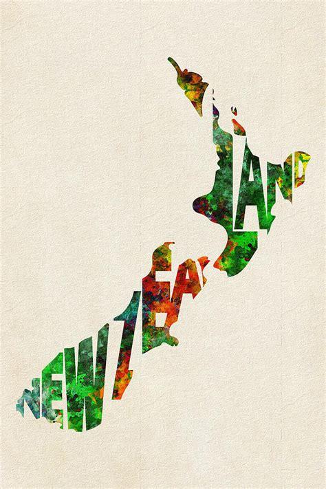 design art college of new zealand new zealand typographic watercolor map digital art by